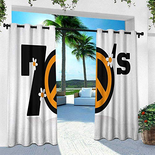 Hengshu 70s Party, Outdoor Curtain Waterproof Rustproof Grommet Drape,Peace Symbol of Seventies with Daisies Rock n Roll Psychedelic Print, W96 x L108 Inch, Black Marigold White