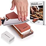 Professional Knife sharpening stone-Double sided 1000/6000 Grit Japanese Waterstone included Non-slip Bamboo Base and Whetstone Cleaning Stone - for Chef and Kitchen Knife Sharpening & Polish