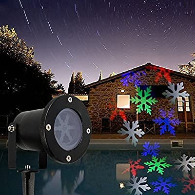 Laser Christmas Lights - Outdoor Landscape Lights Show Snowflakes with Color of White, Red, Green and Blue IP65 Waterproof LED Lights ¡­