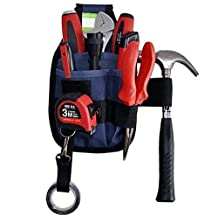 New Professional Electrician Tool Belt Utility Pouch Work w/Tape Buckle Conveniet Tool Bag, 3-Pocket (Dark Blue)