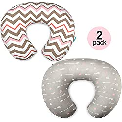 Stretchy Nursing Pillow Covers-2 Pack Nursing Pillow Slipcovers for Breastfeeding Moms,Ultra Soft Snug Fits On Infant Nursing Pillow,Arrow Chevron