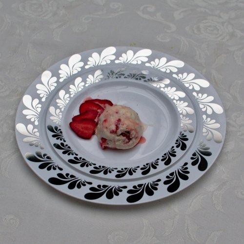 7.5in. Silver Splash Design Premium Plastic Wedding Plates (40 Pack) China-Like