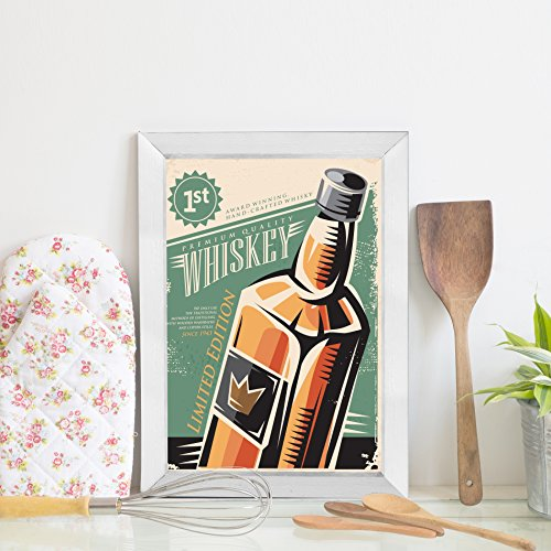 Quadro Bebida Vintage Whisky 22x32cm Moldura Branca