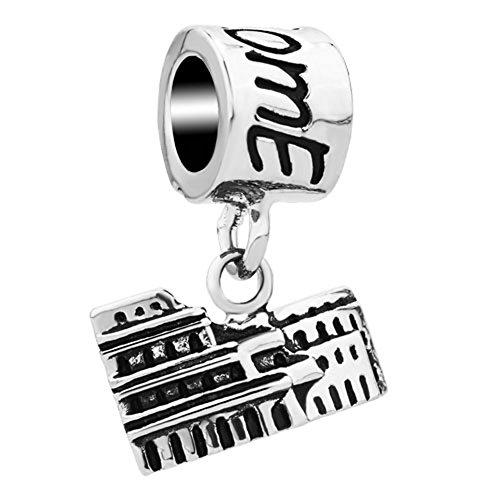 LovelyCharms Rome Colosseum Charm Travel Landmark Series Charm Beads For European Bracelets (Pandora Charm Chicago)