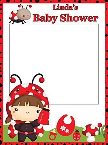 Lady Bug Baby Shower Photo Prop Frame - Sizes 36x24, 48x36; Personalized First Birthday Photo Booth Frame Lady Bug Theme Party Baby Shower Photo Frame Handmade Baby Shower Banner Decorations -