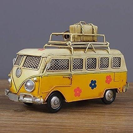 NJIUHB Modelo de Coches, colección de la decoración Retro nostálgico de Chapa de Hierro Modelo de Coche, autobús Creativo Hucha Hecha a Mano Regalo de la decoración, 6.7in * 2,8 Pulgadas * 3.9in