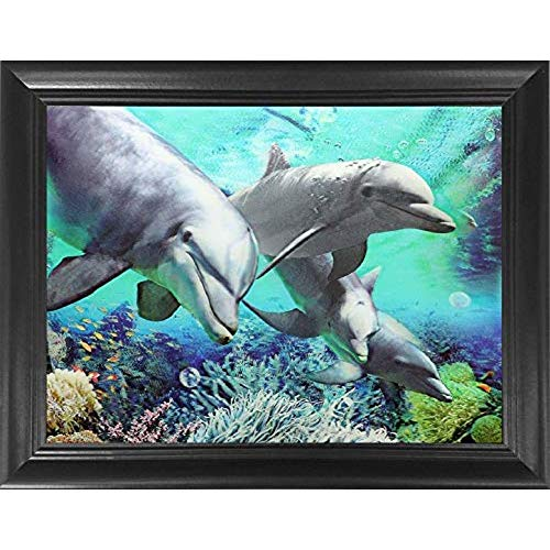 Four Dolphins 3D Poster Wall Art Decor Framed Print | 14.5x18.5 | Lenticular Posters & Pictures | Memorabilia Gifts for Guys & Girls Bedroom | Cute Sea Animals in Underwater Ocean Scene Picture