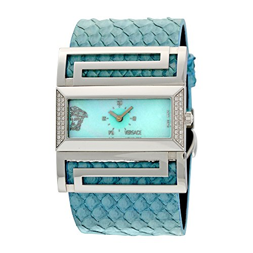 Versace Deauville Blue Mother of Pearl Dial Python Leather Diamond Ladies Watch VSQ91LD115-S115P