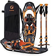 G2GETHER Adult Snowshoes Set with Gaiter and Trekking Poles, Special EVA Padded Ratchet Binding, Lift Heel, Su