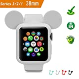 Apple Watch Case 38MM (GRAY), Mickey Mouse Ears Soft Silicone Protective Cover for iWatch Series 3/Series 2/Series 1 Sport/Edition/Nike+ by pipigo