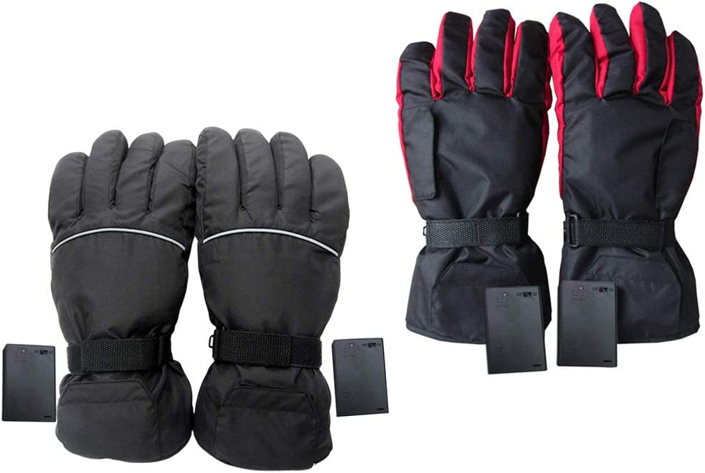 Ninbo Mens Women Electric Heated Gloves Battery Operated Waterproof Thermal Motorcycle Snow Ski Riding Sports Gloves Winter Warmer red