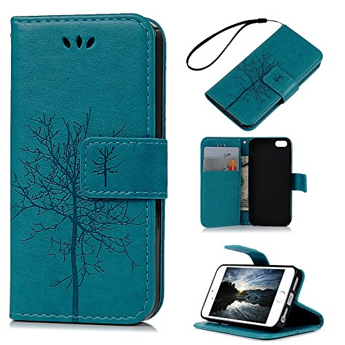iPhone SE Case,iPhone 5S Case,iPhone 5 Case - Wallet Embossed Tree Premuim PU Leather Snug Fit Soft TPU Inner Cover with Magnetic Clip & ID/Credit Card Holders by Badalink