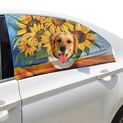 Menedo Oil Painting Golden Yellow Sunflower Foldable Pet Dog Safety Car Printed Window Fence Curtain Barriers Protector for Baby Kid Adjustable Flexible Sun Shade Cover Universal Fit for SUV