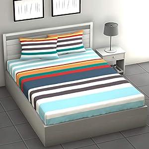 LORETO 144 TC 100 % Cotton Double Bedsheet with 2 Pillow Covers, Multicolour