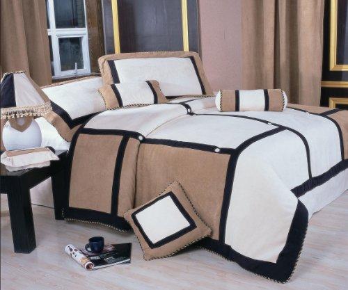 Nanshing America Merriddia Microsuede 7-Piece Comforter Set, (White Suede Comforter)