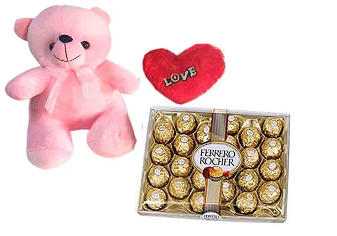 Loops N Knots Valentine S Day Gift Combo Cute Pink Teddy Bear Red