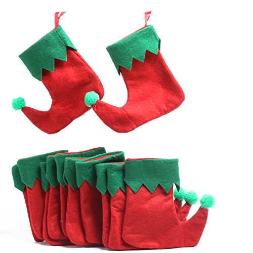 - Factory Direct Craft Set of 24 Christmas Holiday Red and Green Stockings for Gift Cards