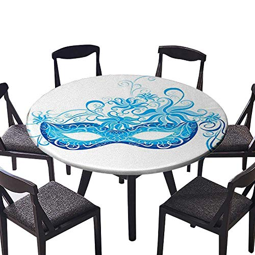 Round Premium Table Cloth Venetian Mask Majestic Impersonating Enjoying Halloween Theme Image Print Navy Blue Perfect for Indoor, Outdoor 67