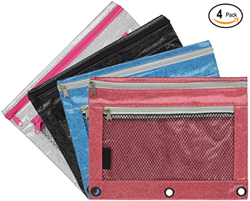 Emraw Double Pocket Zippered Glitter Pencil Pouches with 3-Ring Grommet Holes & Quick View Mesh Pocket - Colors Included: Black, Silver, Blue, Pink (4 Pack)