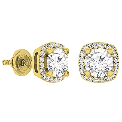 Dazzlingrock Collection 18K 5 MM Each Round White Sapphire & White Diamond Ladies Halo Stud Earrings, Yellow Gold