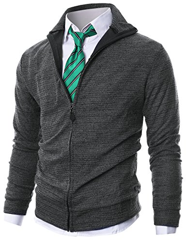 Ohoo Mens Slim Fit Long Sleeve Zip Up Cardigan With Melange Color/DCC022-CHARCOAL-M