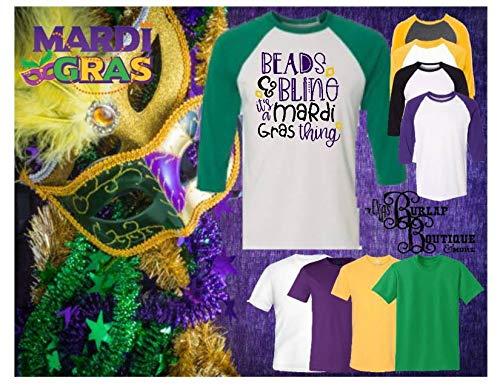 Mardi Gras Collections ~ Handmade Shirt ~ Custom Tees ~ Beads & Bling it's a Mardi Gras thing ~ T-shirt ~ Raglan 3/4 Sleeve Baseball ~ Adult