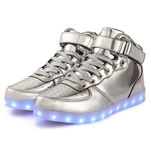 Annabelz Led Shoes High Top Uomo Donna Light Up Shoes Sneakers Lampeggiante Ricarica Oro Argento Argento
