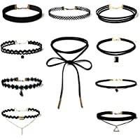 10 Pieces Choker Necklace, Keepfit Adjustable Stretch Velvet Classic Gothic Tattoo Lace Choker Set Fashion Nova