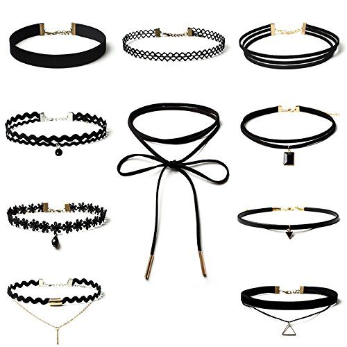 10 Pieces Choker Necklace, Keepfit Adjustable Stretch Velvet Classic Gothic Tattoo Lace Choker Set Fashion Nova