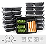 #8: Glotoch 34 Ounces Meal Prep Containers Set with Lid for Meal Prep and Portion Control in 3 Compartment Bento Box - Microwaveable, Freezer & Dishwasher Safe, Pack of 20