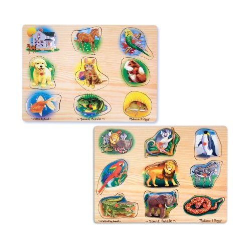 Melissa & Doug Zoo Peg - Melissa & Doug Sound Puzzles Set: Pets and Wild Animals - 8-Piece Wooden Peg Puzzles