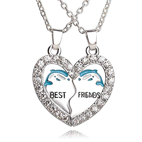 AILUOR Rainbow Cloud Stitching Best Friends Pendant Necklace, BFF Teen Forever Friendship Birthday Gift (2Pcs-Heart) ()