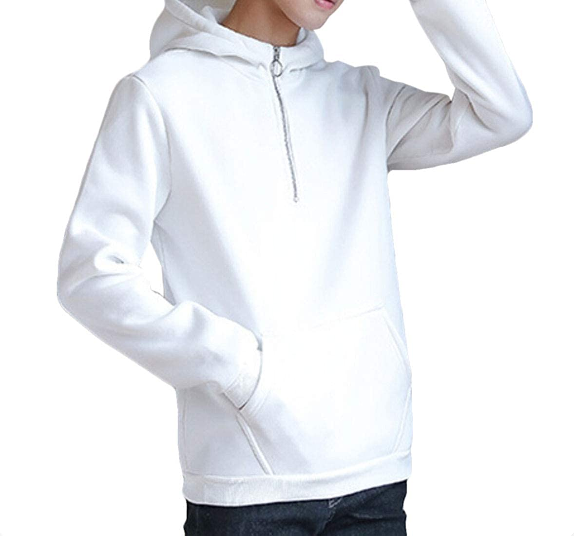 omniscient Mens Quarter Zip Hooded Sweatshirt Lightweight Windbreaker Pullover Jacket