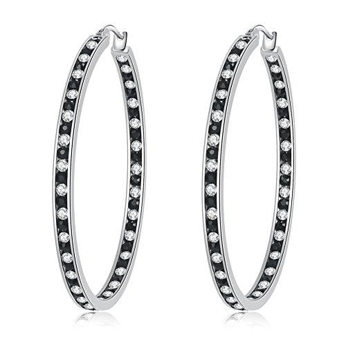 CiNily Ladies Earring Hoops-Stainless Steel Hoop Earrings for Women Black White Cubic Zirconia Large Big Hoop Earrings Hypoallergenic for Sensitive Ears -