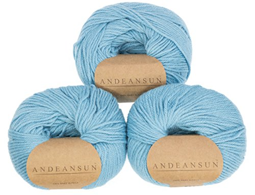 100% Baby Alpaca Yarn WEIGHT CATEGORY #1 Super Fine, SOCK, FINGERING -SET OF 3 Skeins 150 GRAMS TOTAL- Luxuriously and CARING SOFT for knitting and crocheting (3 DK - Light, (Powder Blue Knitting Yarn)