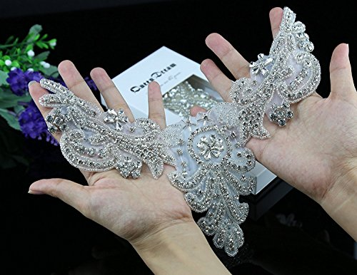 - Crystal Applique, Rhinestone Applique, Wedding Applique, Beaded Crystal Patch, DIY Wedding sash, Headband, Headpiece