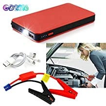 Car Jump Starter,GD2016 12000mA Portable Auto Battery Pack Mutli Fuction Car Starter Power Bank with LED Torch(Red)