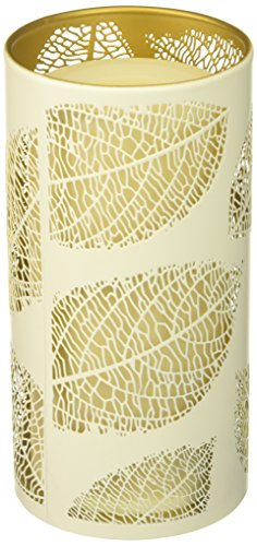 Sterno Home CAT12001WH Laser Etched Leaf Design Metal Luminary, 3.5 7-Inch, White/Gold (Etched Design Gold White)