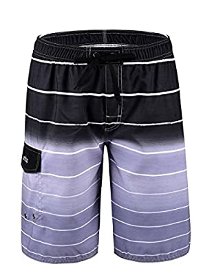 Unitop Men's Colortful Striped Swim Trunks Beach Board Shorts with Lining