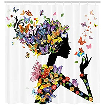 2e07aa19a1ba Amazon.com  Ambesonne Butterfly Shower Curtain Girl Decor