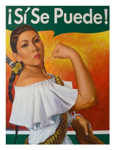 Latin Art - Rosita Si Se Puede by Robert Valadez Figurative Hispanic Latin Print Poster 18x24