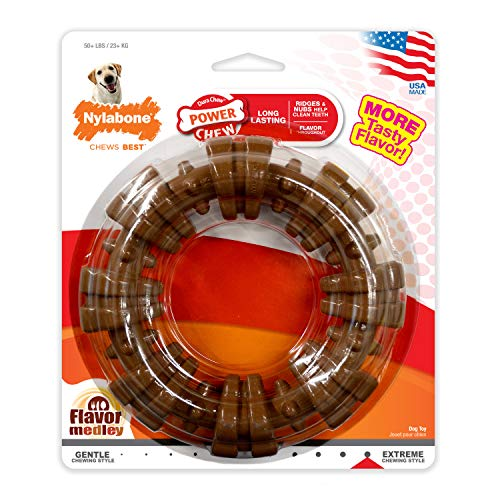 Bones Toys Dog Happy - Nylabone Dura Chew Power Chew Textured Ring, Large Durable Dog Chew Toy, Great for Aggressive Chewers