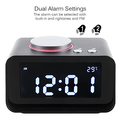Dulcii Smart Alarm Clock,Built with FM Radio,AUX-IN,Dual Alarm,Indoor Thermometer,Charging Station/Phone Charger with Dual Port USB for Phones and Tablets,Black