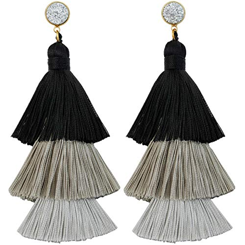 SUNYIK Gradual Black&White Color Tiered Thread Tassel Dangle Earrings for Women, Round Silver Druzy Stud Earring