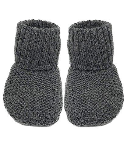 Infant Baby Warm Knitted Booties Socks, 100% Organic Merino Wool (6-12 months, Grey) -