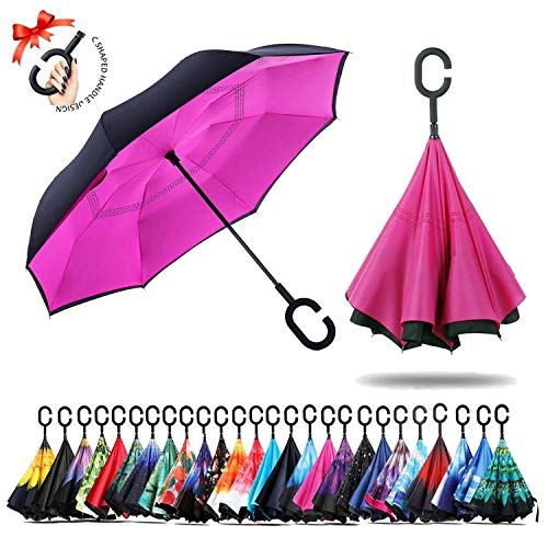Amersin Double Layer Inverted Umbrella Cars Reverse Open Folding Umbrellas, Windproof UV Protection Large Self Stand Upside Down Straight Umbrella for Golf Women and Men with C-Shaped (hot Pink) (Hot Umbrellas Pink)