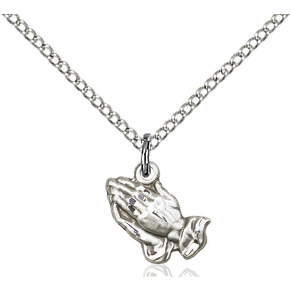 Sterling Silver Praying Hands Pendant 3/8 x 3/8 inches with Sterling Silver Lite Curb Chain Bliss Manufacturing 0220SS/18SS