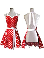 lovely sweetheart red retro kitchen aprons woman girl cotton polka dot cooking salon pinafore vintage apron - Christmas Apron