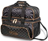 Storm 2 Ball Deluxe Checkered Tote Bowling Bag- Black/Gold