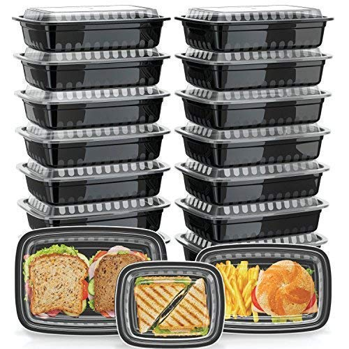 Green Label [21 Pack] Assorted Meal Prep Containers [3 Sizes] with Lids, Bento Box and Food Storage, Microwavable, Stackable, Dishwasher and Freezer Safe, Assorted Sizes, Black